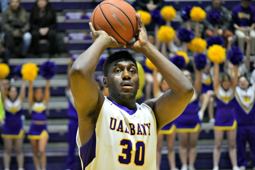 UAlbany's Travis Charles hurt his left knee during Saturday's win.