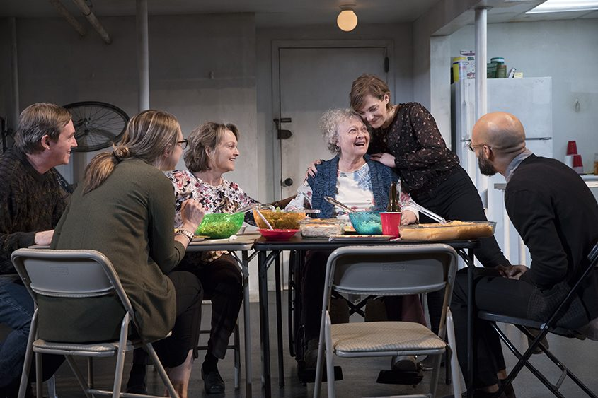 """Richard Thomas (from left), Therese Plaehn, Pamela Reed, Lauren Klein, Daisy Eagan and Luis Vega star in """"The Humans."""""""
