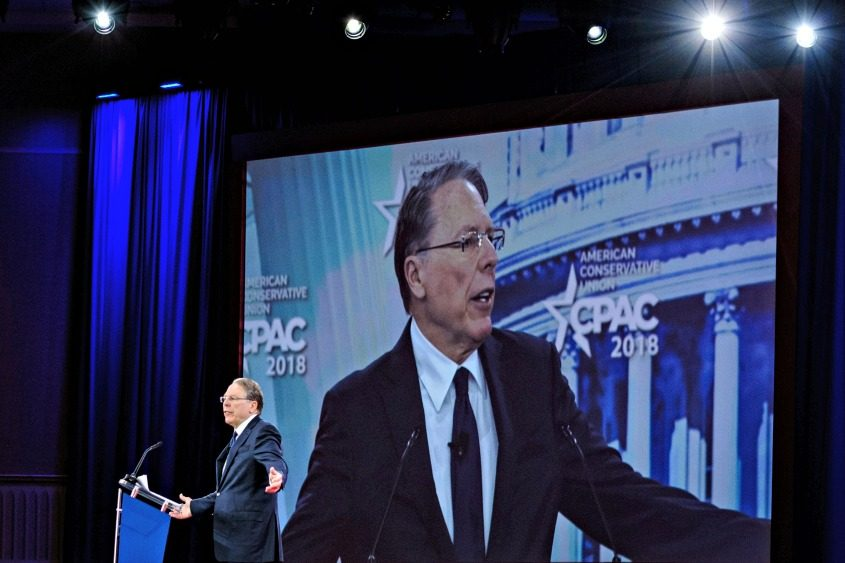 Wayne LaPierre, the NRA chief, is projected on a large screen as he speaks at the annual CPAC.