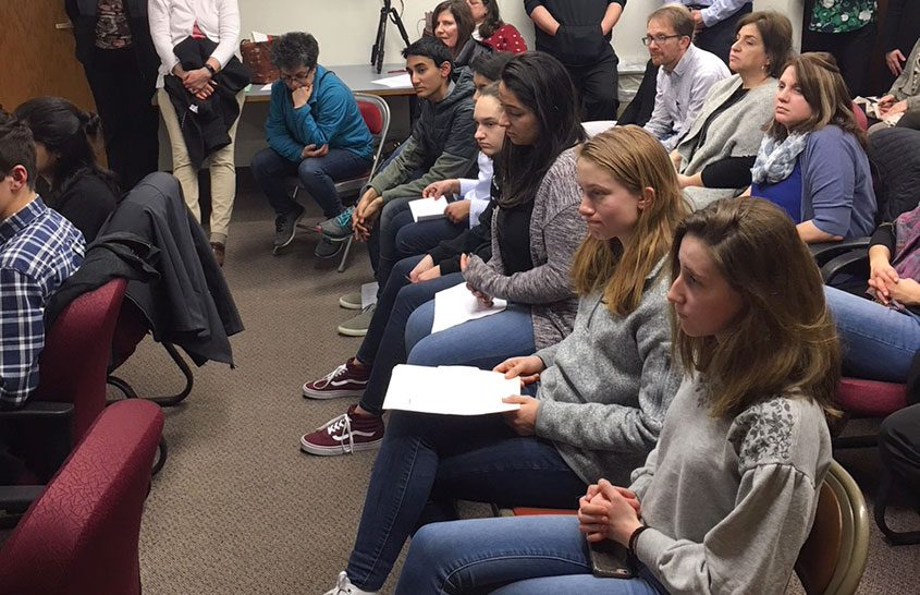 A group of Niskayuna eighth- and ninth-graders share safety concerns with the school board on Tuesday night.