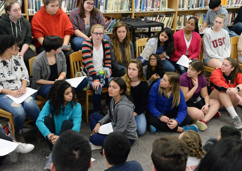 Niskayuna high school students talk Thursday about plans for a school walkout on March 14.