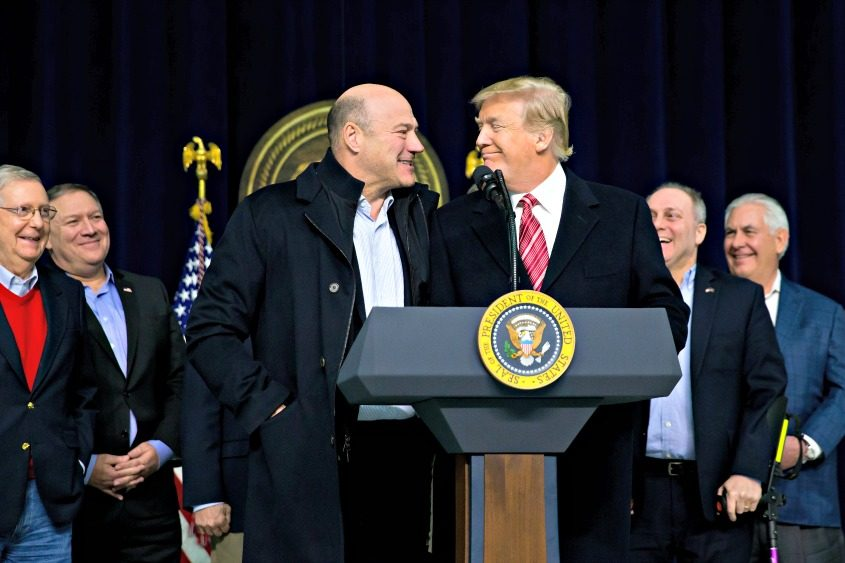 President Donald Trump is joined at the podium by Gary Cohn at Camp David in Maryland on Jan. 6, 2018.
