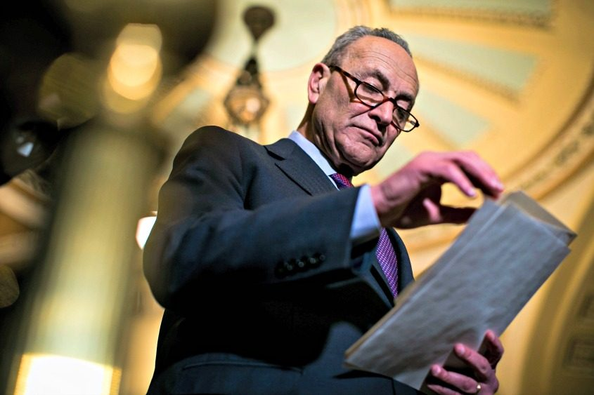Senate Minority Leader Chuck Schumer (D-N.Y.) speaks to reporters on Capitol Hill in Washington on March 6, 2018.