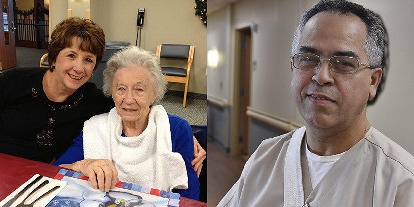 Left, Kathleen Jubert and her mother, Margie MacHaffie. Right, Roland Fernandes