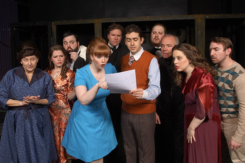 """The cast of """"Curtains""""; front center are Kelly Sienkiewicz as Niki and Steve Maggio as Lt. Frank Cioffi."""