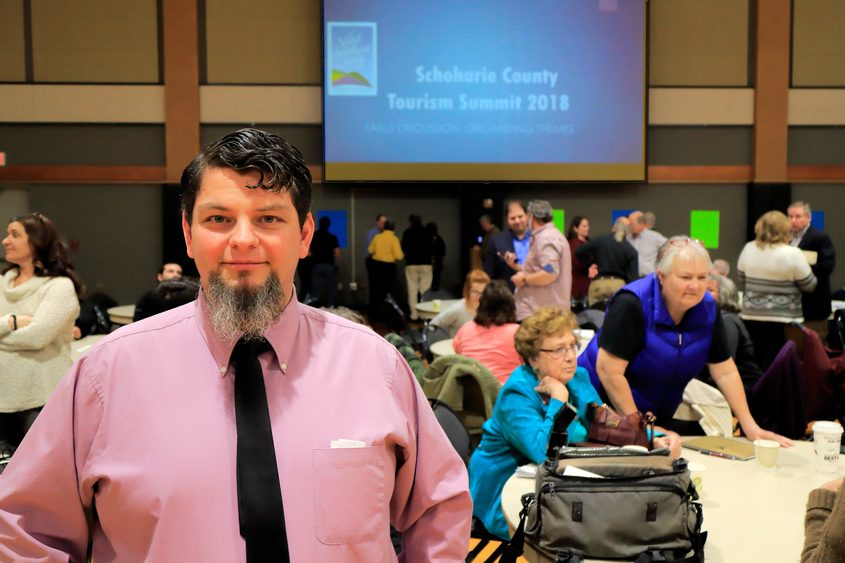 Nick Castellanos, coordinator of tourism for the Schoharie County Chamber of Commerce, is shown at the tourism summit.