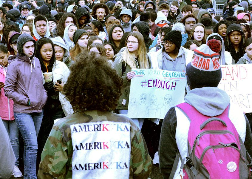 Students walk out of Schenectady High School on Wednesday, March 14, 2018, to call attention to gun violence.