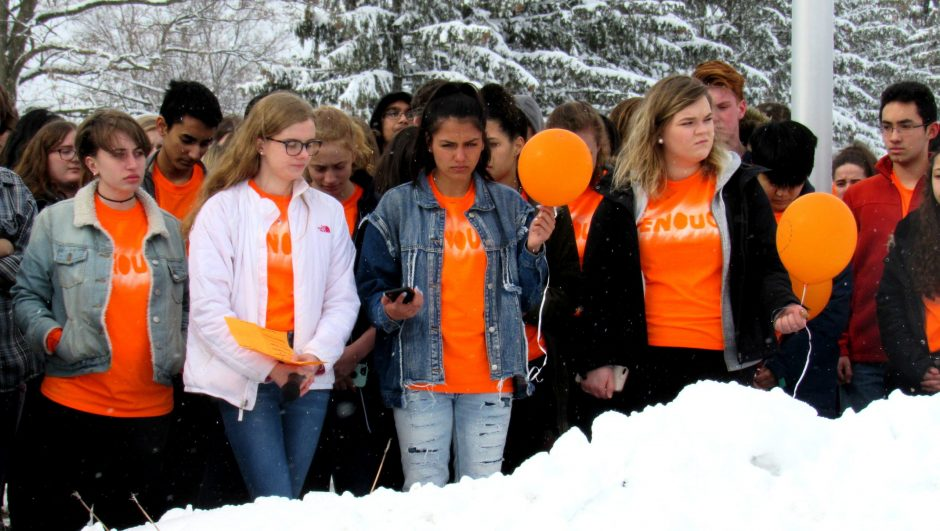 Niskayuna students at a walkout ceremony remembering the victims of the mass shooting in Parkland, Florida.