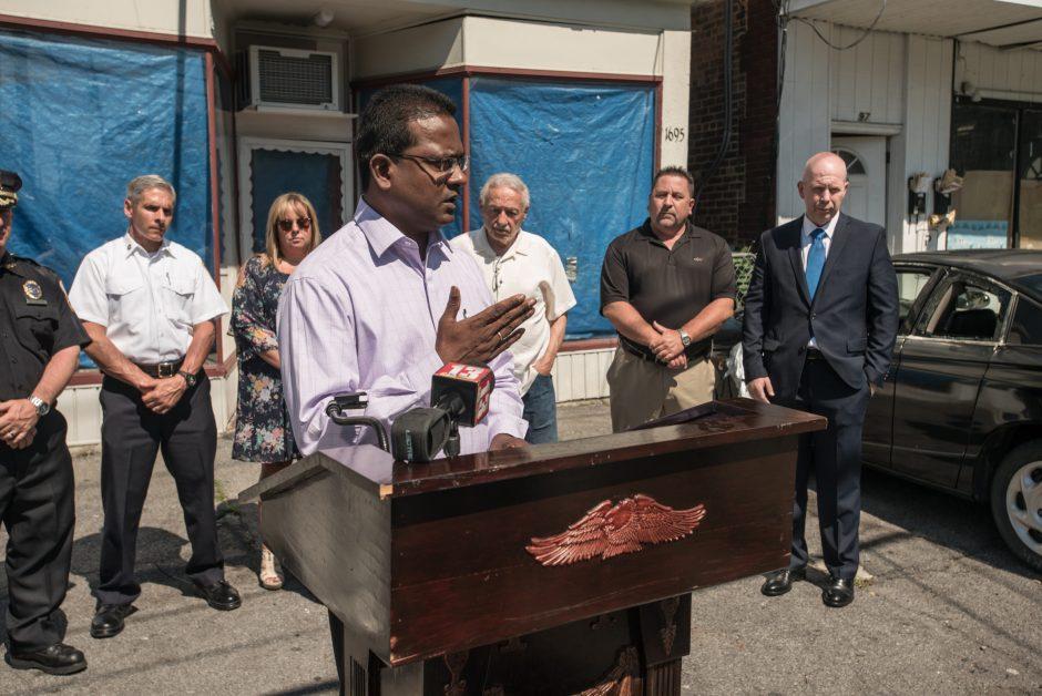 Councilman John Mootooveren speaks on Van Wranken Avenue in Schenectady, NY July 5th, 2017.
