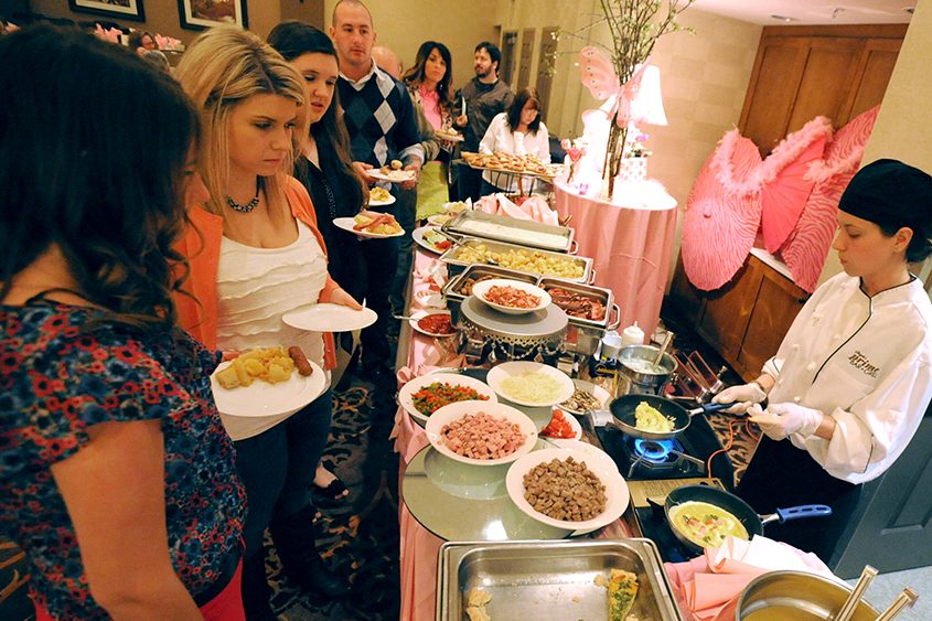 In this file photo, a line forms at the omelet station for Easter brunch at Angelo's Prime Bar and Grill in Clifton Park.