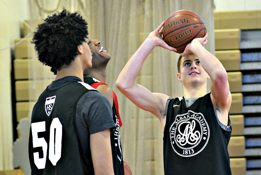 August Mahoney, right, takes a shot during Thursday's practice in Albany.