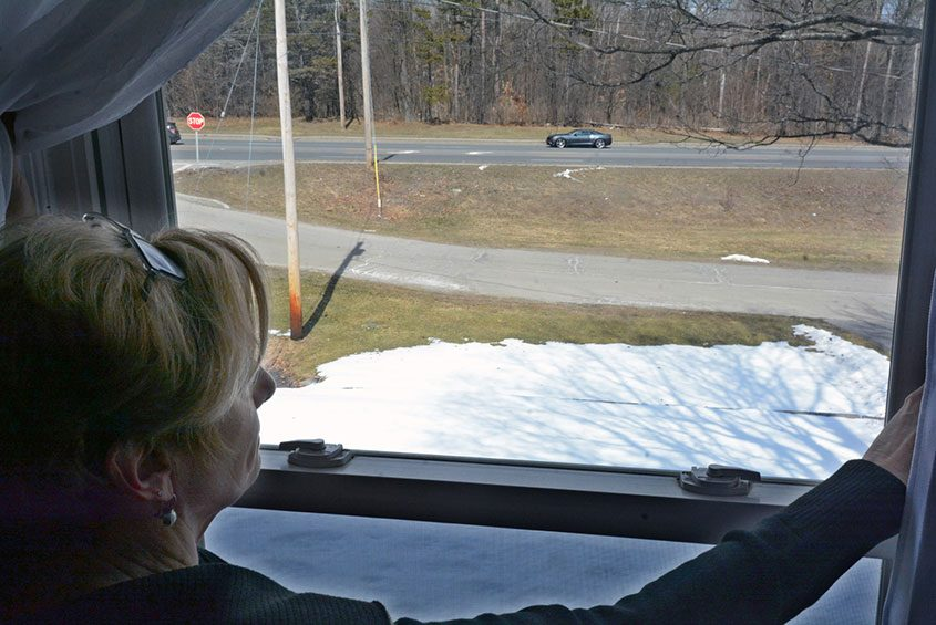Sheila DiSarro looks out her bedroom window into where a proposed Holocaust memorial would stand in Niskayuna.