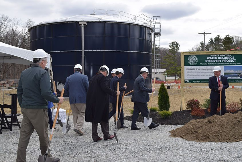 A commemorative ground breaking in April 2017, marking continued improvements to Niskayuna's wastewater treatment plant.