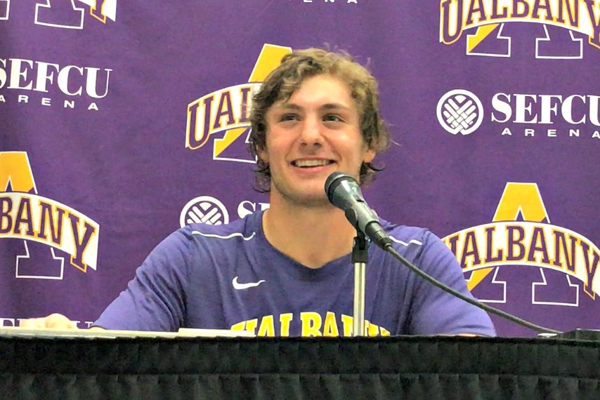 UAlbany's Matt Perla made a shot from more than 50 yards out in Wednesday's men's lacrosse win.