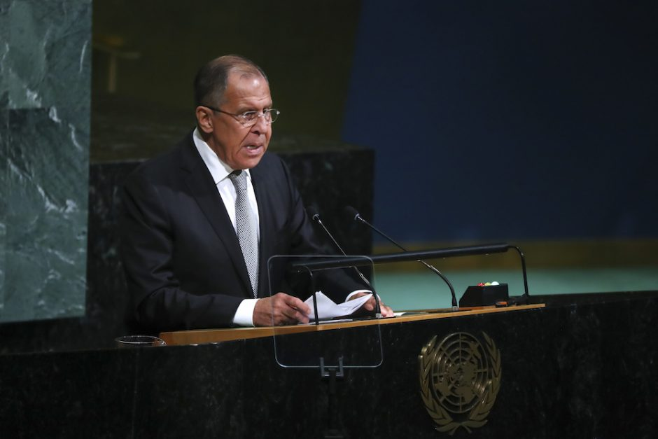 Russian Foreign Minister Sergey Lavrov at the U.N. headquarters in New York, Sept. 21, 2017.