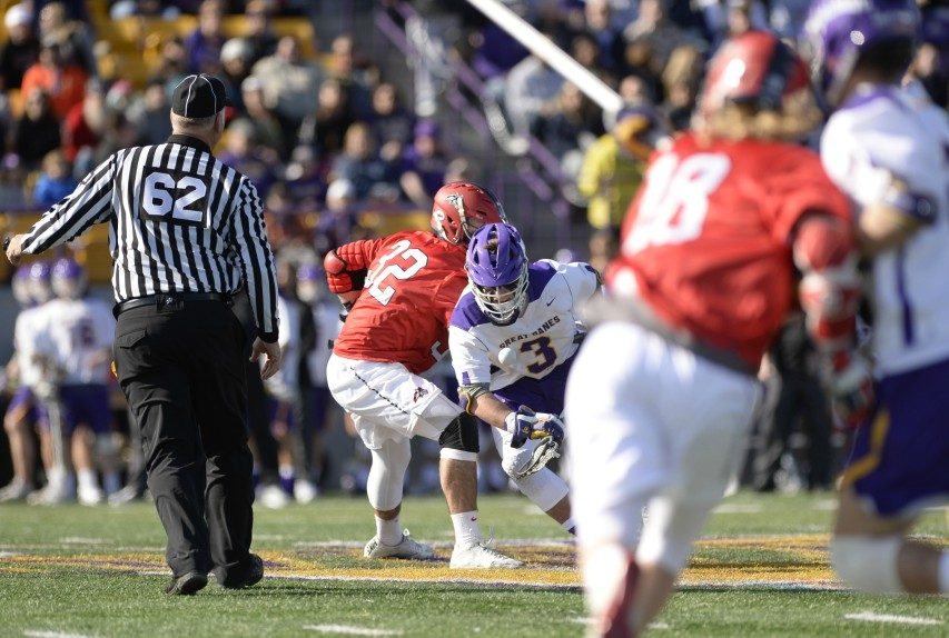 UAlbany's TD Ierlan won 24 of 24 faceoffs to lead the Great Danes.