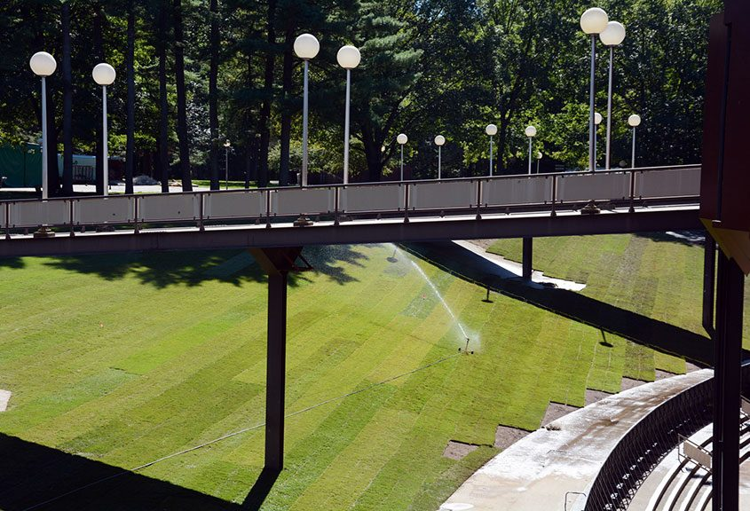 Landscapers install sod on the SPAC grounds on Wednesday, September 23, 2015.