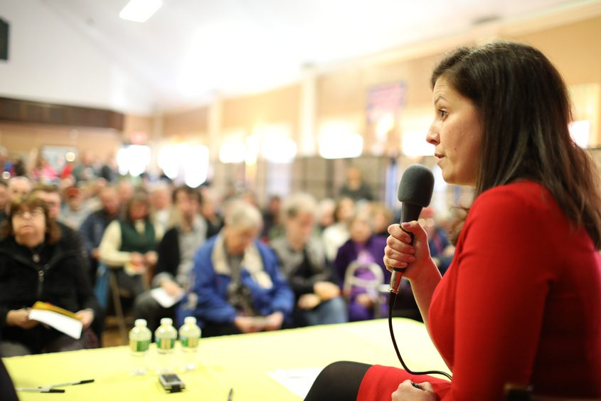 U.S. Rep. Elise Stefanik speaks Thursday during a town hall-style meeting in South Glens Falls.