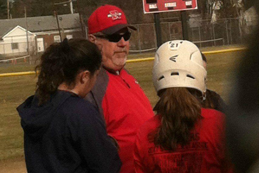New Niskayuna varsity softball coach Gary Sears directs his team at Monday's practice.