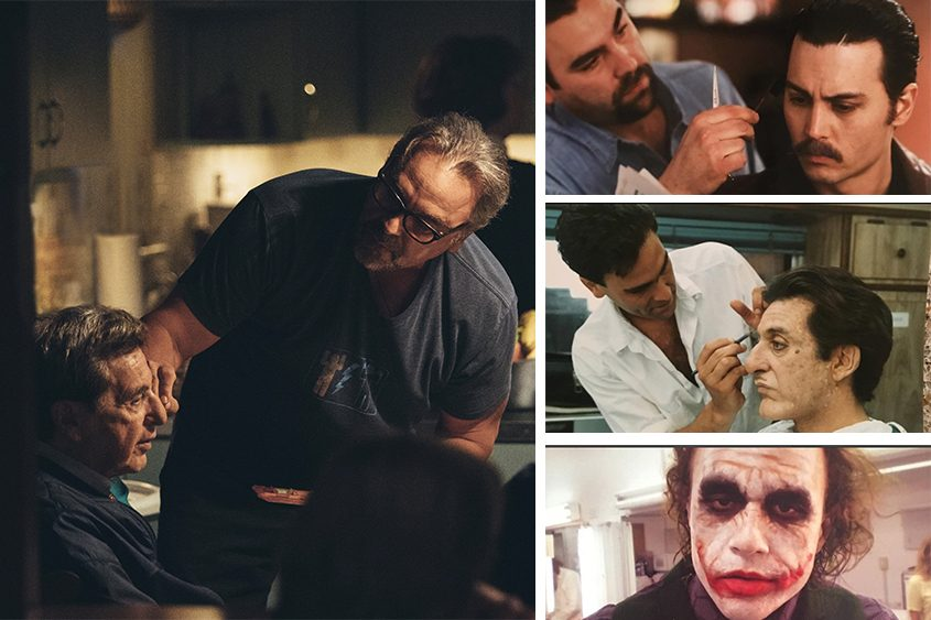 """John Caglione works with Al Pacino, left, for the film """"Paterno."""" Left, from top, with Johnny Depp, Pacino and Heath Ledger."""