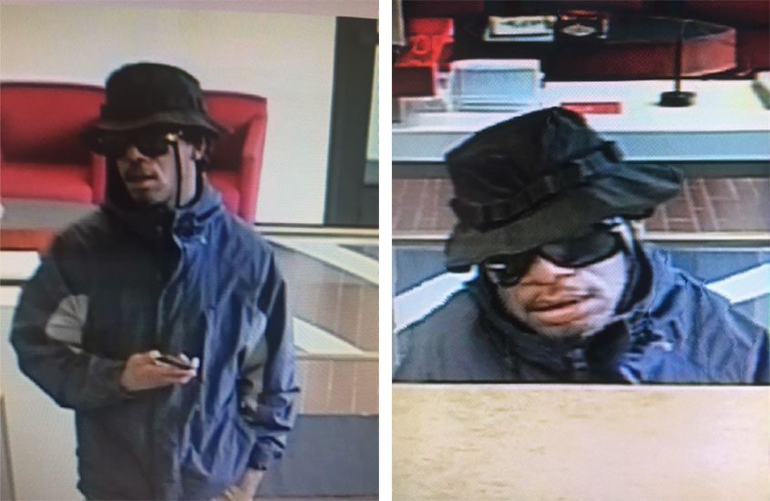 Stills from surveillance video of the suspect in a Guilderland bank robbery.