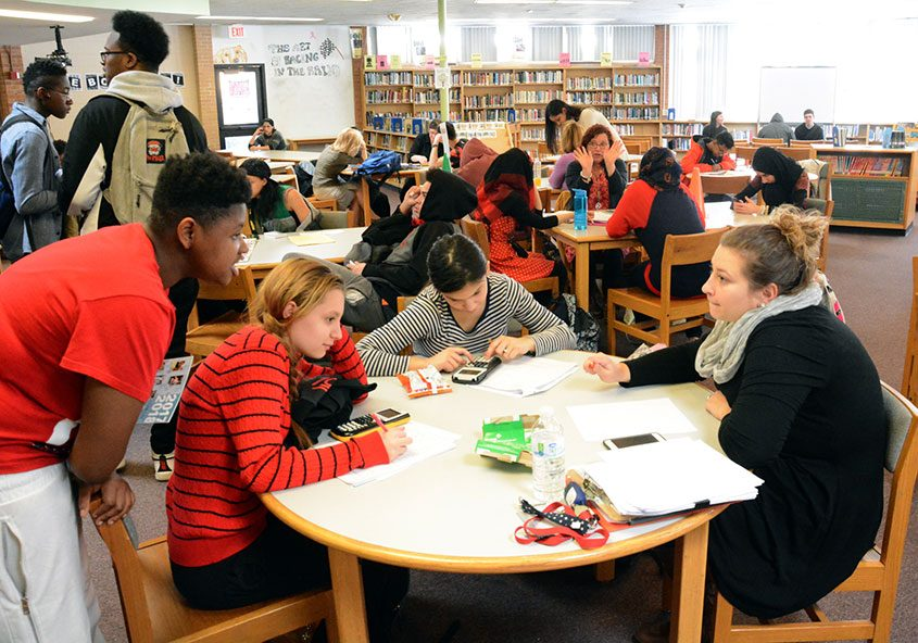 Students in the Schenectady High School library during an after-school program.