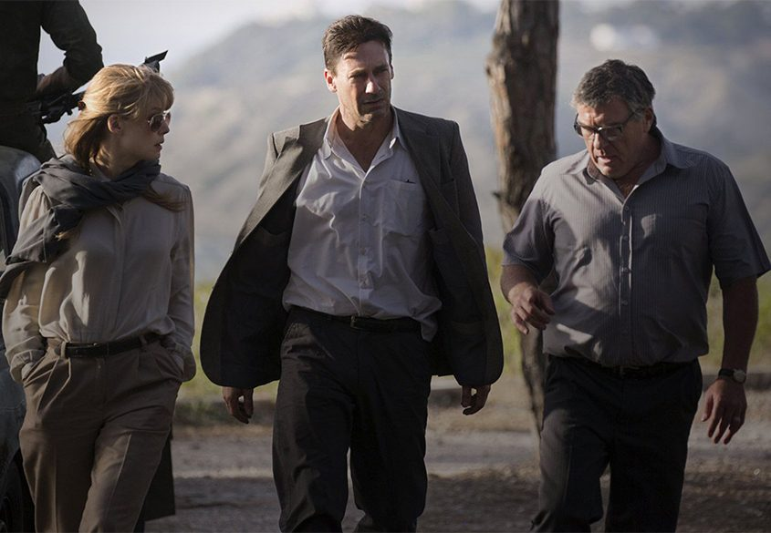 "Jon Hamm, center, as Mason Skiles in ""Beirut."""