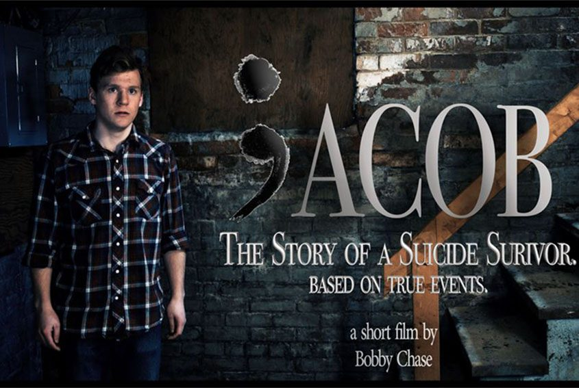 """A poster for the movie """"Jacob: The Story of a Suicide Survivor"""" shows Jack Boggan, who portrays Bobby Chase in the film."""