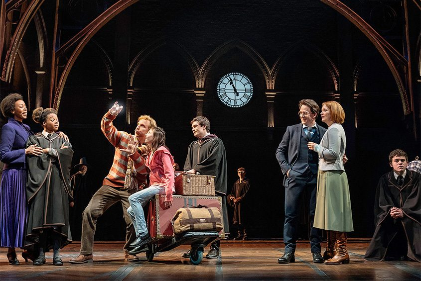 """A scene on Platform 9 ¾ in """"Harry Potter and the Cursed Child."""""""