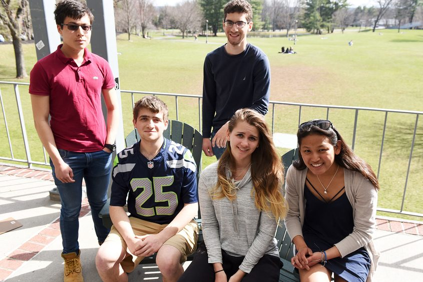Skidmore students (L-R) Casey Moser, David Solovy, Alex Tadorian, Madelyn Streb, and Maddie Collins pose on Tuesday at Skidmore.