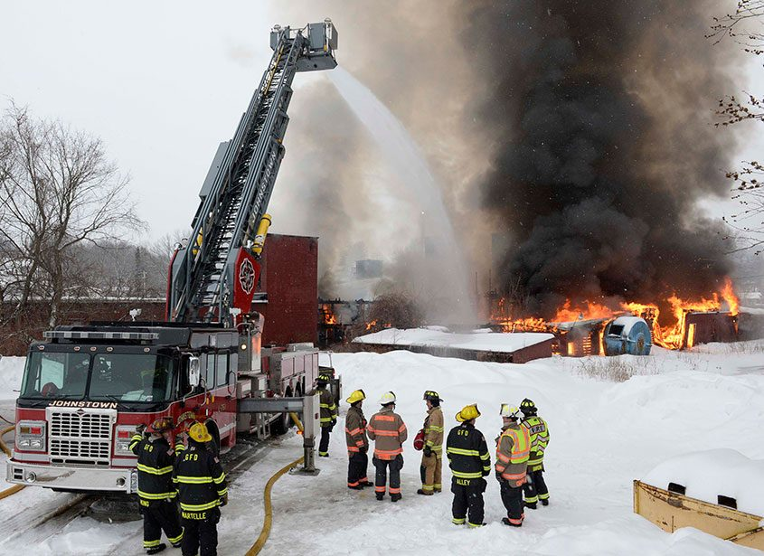 Firefighters on the scene of a tannery fire in Gloversville, Feb. 10, 2018.