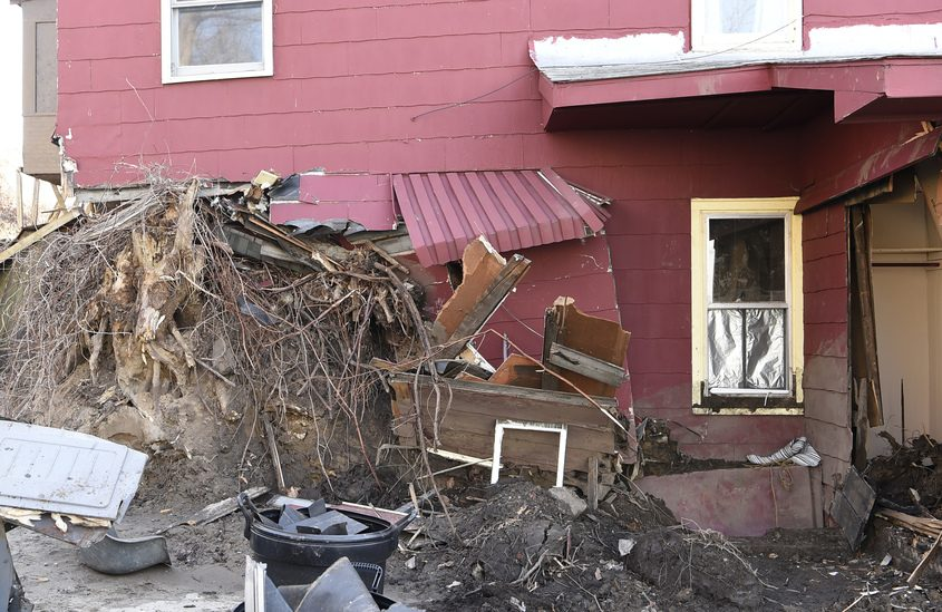 This house at 223 Nott Terrace in Schenectady was struck by mud in late January.