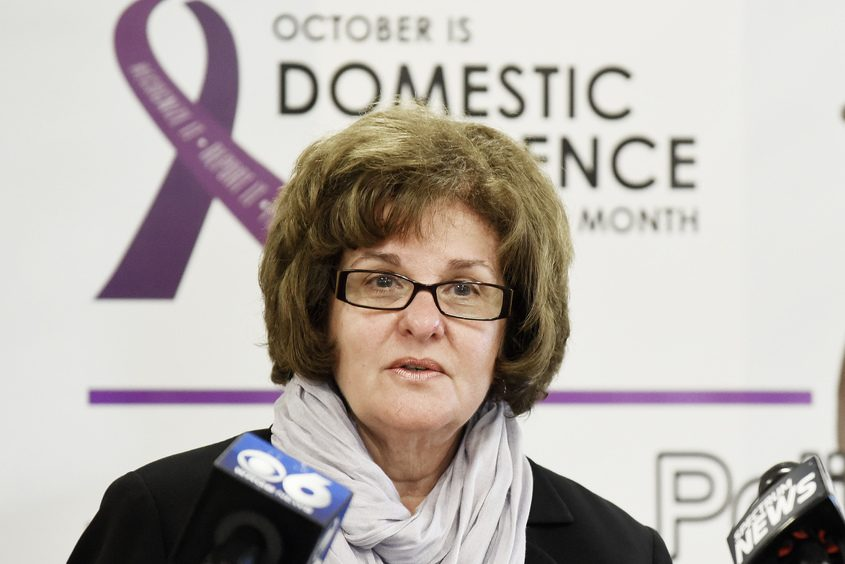 State Sen. Kathy Marchione speaks during a press in Stillwater on October 18.