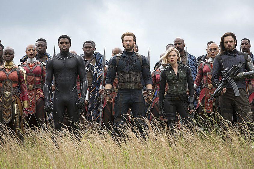 Chris Evans, Scarlett Johansson, Chadwick Boseman, Sebastian Stan, Danai Gurira, Marie Mouroum, and Winston Duke in the film.