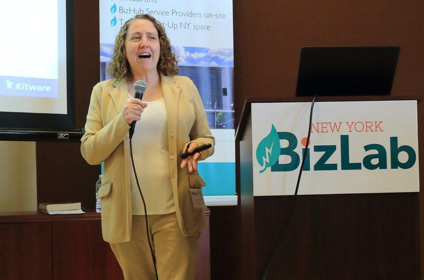 Kitware co-founder, President and CEO Lisa Avila speaks Thursday at the New York BizLab.