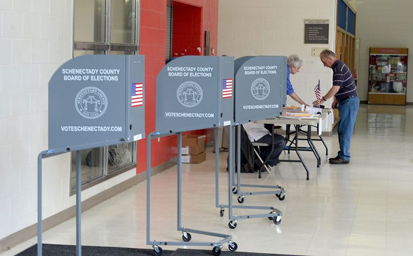 School board elections at Schenectady High School, May 17, 2016.