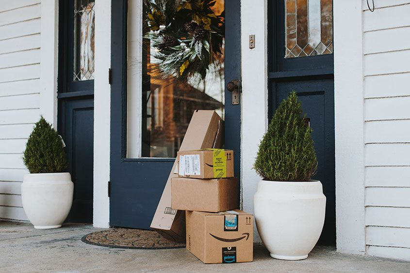 Packages from Amazon Prime at a home in Memphis, Tenn., Dec. 14, 2017.