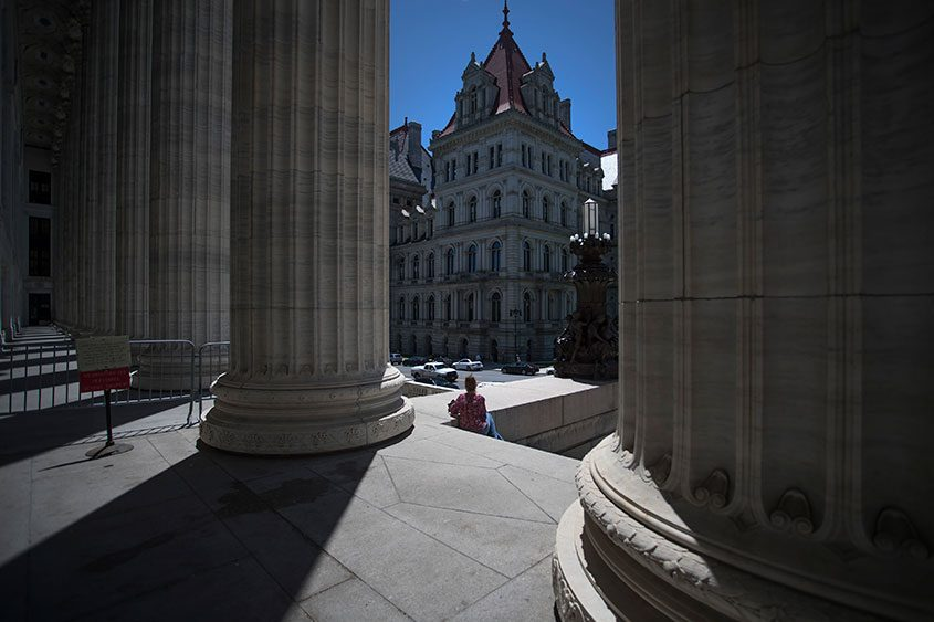 The New York State Capitol as viewed from the New York State Education Department in Albany, June 7, 2017.