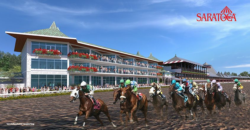 "A rendering of a three-story building that will replace the ""At the Rail"" tent at Saratoga Race Course."