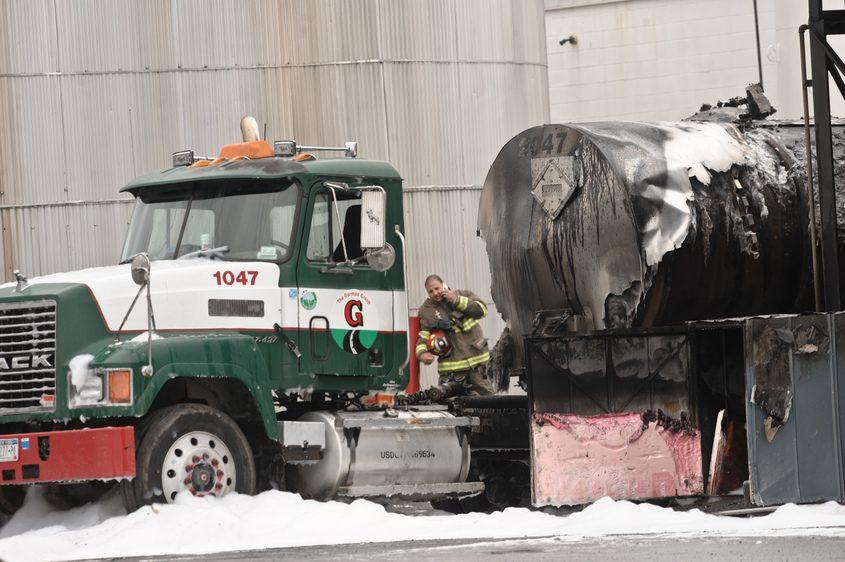 A tanker full of fuel caught fire on Oct. 17, 2016, at Mohawk Asphalt Emulsions.