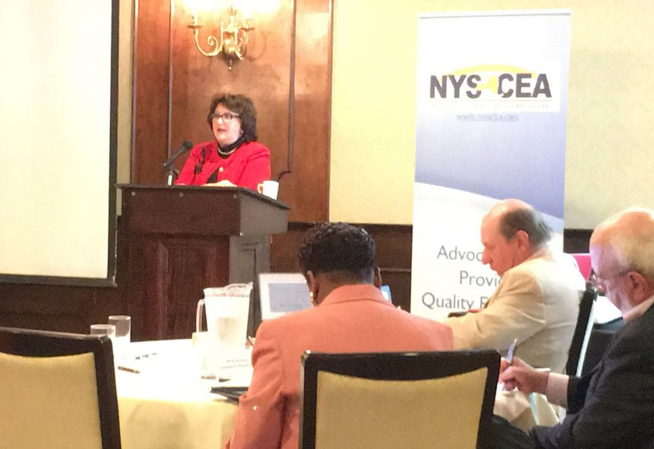 State Education Commissioner MaryEllen Elia speaks in Latham, May 4, 2018.