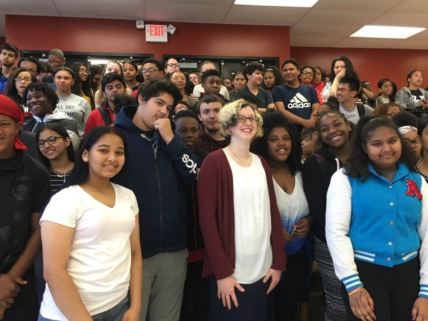 Lori Lebel is seen with one of her classes Monday, after being presented with an Empire State Excellence in Teaching Award.