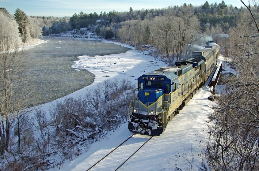 An excursion train runs along the Hudson River in 2012. The rail company has ended service.