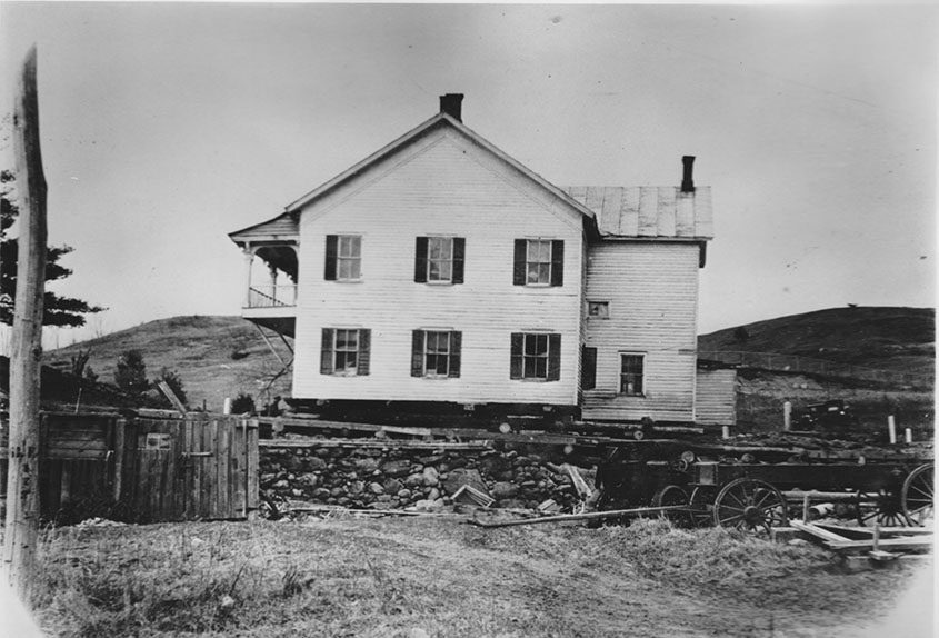 The Edinburgh home of George Person is moved prior to the flooding of the Sacandaga River Valley in 1930.