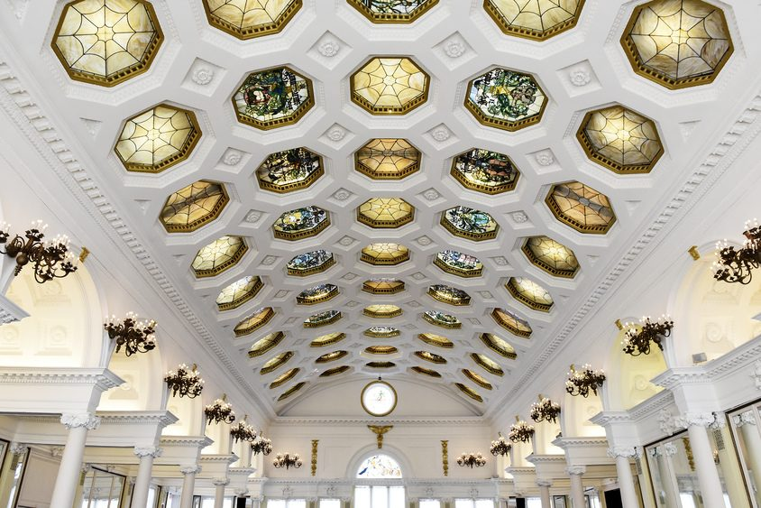 The ceiling of the Canfield Casino in Saratoga Springs is pictured.