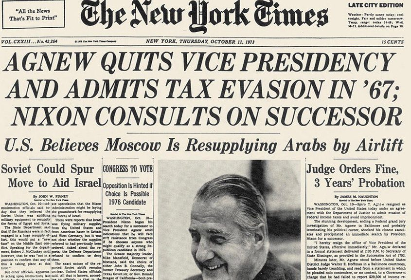 The New York Times from Oct. 11, 1973, announces the resignation of Vice President Spiro Agnew over tax evasion charges.