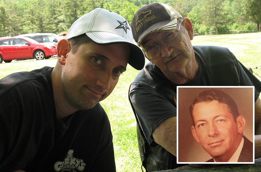 Gazette reporter Steven Cook with his father at Thacher Park in 2010; inset, Al Barron.