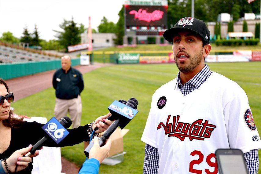 ValleyCats manager Jason Bell addresses media members Wednesday at Bruno Stadium.
