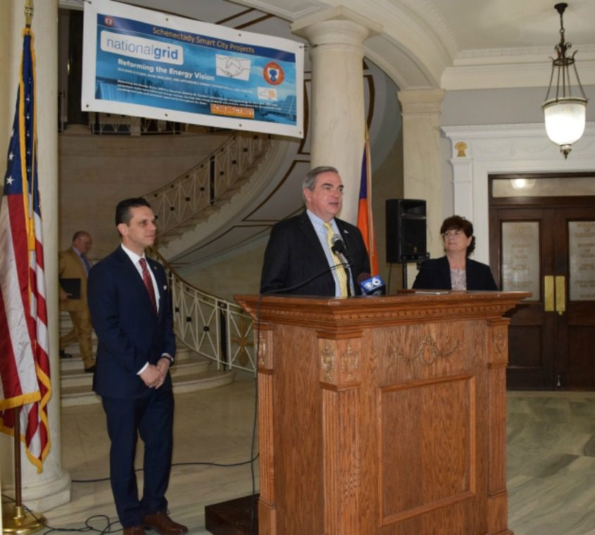 Schenectady Mayor Gary McCarthy speaks Thursday, during a press event to announce developments in the Smart City Initiative.