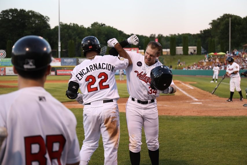 Seth Beer, right, reacts after hitting a home run Friday for the ValleyCats.